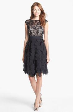 Patra Sleeveless Lace & Chiffon A-Line Dress