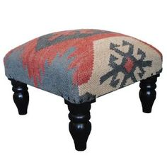 Herat Oriental Indo Kilim Upholstered Foot Stool | Overstock™ Shopping - Top Rated Herat Oriental Ottomans