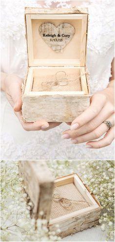 Rustic country birch wedding ring box @4LOVEPolkaDots