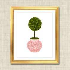 Pink and White Ginger Jar Digital Art Print, Boxwood Topiary, Chinoisierie Chic…