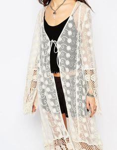 Image 3 ofBand of Gypsies Lace Kimono with Tassels in Longline