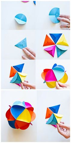 Paper craft colorful ball origami