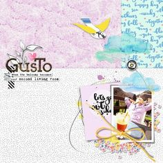 """""""gusto"""" a digital scrapbook layout by paddy wolf- made with pixelscrapper pass the kit challenge 2016- """"spring essentials"""""""