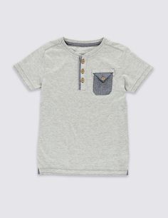 Cotton Rich End On End Striped T-Shirt (1-7 Years)