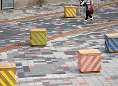 Sustainable timber Oak Chevron Cubes, street furniture design by United Creatives.
