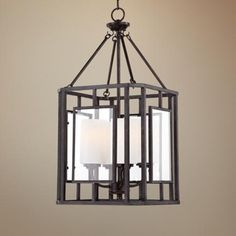 "entry? only $300. Franklin Iron Works Cage 13"" Wide Bronze Entry Chandelier -"