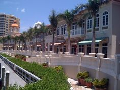 Waterfront shopping on the Promenade at our luxury resort, Marina Village in Cape Coral, Florida.