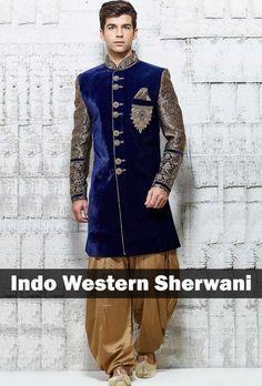 Indo-Western Style Sherwani... Interesting!! Find more 8 Types of Wedding…