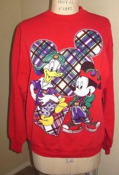 Disney Mickey Mouse Jerry Leigh Donald Duck Red Sweatshirt Urban Hip Hop Unisex