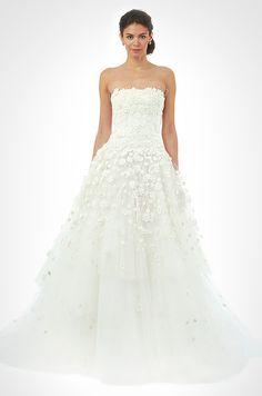 Beautiful Flower Texture Wedding Dress Oscar De La A Fall 2017 Designer Gowns