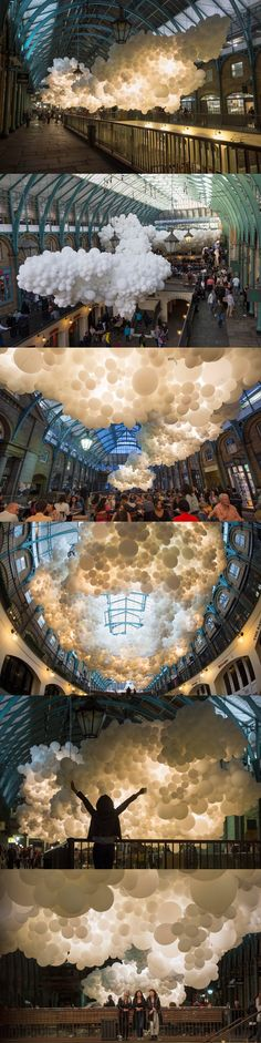 french artist charles pétillon has filled london's 19th century covent garden market building with 100,000 giant white balloons. named 'heartbeat'