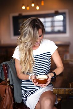 perf hair, coffee & striped dress