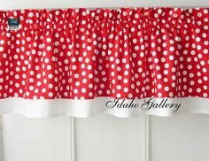 Red with White Dot Double Layer Little Curtain by Idaho Gallery