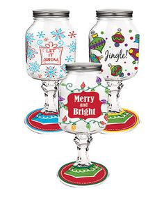 Holiday Print Mason Jar Set #zulily #zulilyfinds