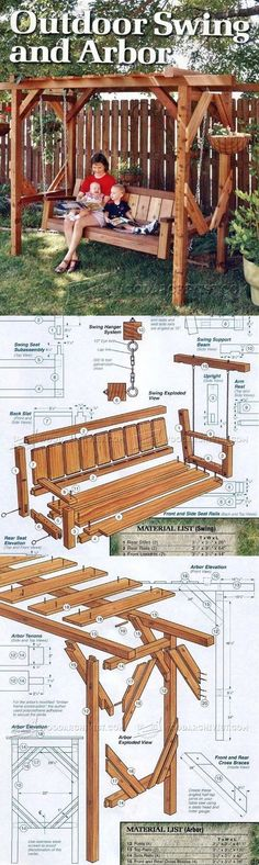 Outdoor Arbor Swing Plans - Outdoor Furniture Plans and Projects | WoodArchivist.com #WoodworkingPlansEasy