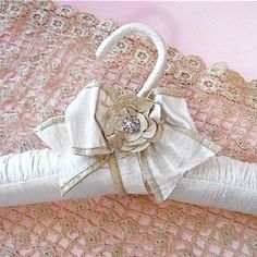 Bridal Hanger Champagne Flower  Silk Ribbon by tokyoblues on Etsy