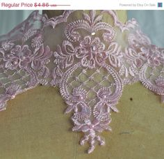 ON SALE Pink Lace Organza Trim with Faux pearls by CreationsbyLSM, $4.13