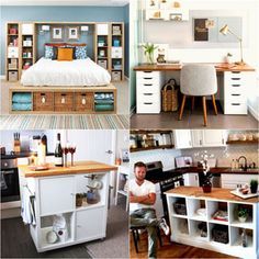 20 Smart and Gorgeous IKEA Hacks: save time and money with functional designs and beautiful transformations. Great ideas for every room such as IKEA hack bed, desk, dressers, kitchen islands, and more! - A Piece of Rainbow Ikea Hacks, Hacks Diy, Ikea Alex, Home Decor Bedroom, Living Room Decor, Bedroom Bed, Cocina Diy, Diy Home Decor Rustic, Decor Scandinavian