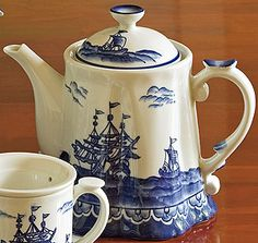 Captain's Nautical Teapot  Navy blue design on porcelain made sure the tea supply in the captain's quarters was to a high standard, so that the tea supply from India was uninterrupted to the Queen.