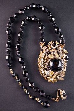 Miriam Haskell Gold-Toned Metal Pendant Necklace w Faceted Black Glass Beads #MiriamHaskell #BeadNecklacewithPendant