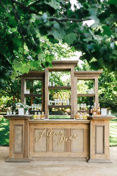 Actors Jillian Murray & Dean Geyer's Alfresco Wine Country Wedding Outdoor Bar with Calligraphy Sign Photography: Jana Williams Photography Read More: www. Dean Geyer, Wedding Rentals, Wedding Venues, Wedding Reception, Celebrity Weddings, Event Decor, Marie, Cocktail Movie, Cocktail Sauce