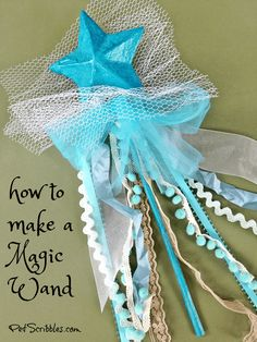 How to make a magic wand...because every girl should have one! Easy tutorial and great birthday gift idea! (I made one when I turned 50!) #magicwand #ribboncrafts #starcrafts #prettycrafts #easydiy