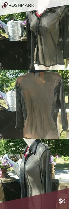 🎃HALLOWEEN SPECIAL 🎃 BLACK SHEER BUTTON DOWN 🐱GREAT FOR HALLOWEEN- black button-down sheer blouse beautiful to wear with any color tank top underneath and your accent jewelry.  there are pulls under the collar,  see pictures.  Price reflects. Please make an offer and enjoy your poshing! Fashion Bug Tops Blouses