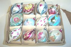 BEAUTIFUL VINTAGE, GLASS, PAINTED POLAND CHRISTMAS ORNAMENTS
