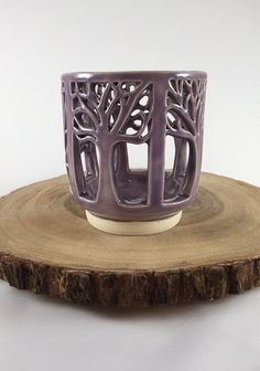 Ceramic Lantern with Tree Carving in Lavender: by QuigleyCeramics