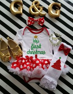 Cute 2 Piece Baby's First Christmas Glitter Baby Girl Tutu Dress Outfit