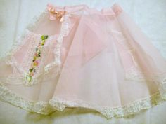 Vintage Apron, Pink Apron with Lace, Chiffon Apron, Half Apron, Vintage Apron, hostess apron, Sheer Apron, Pink Sheer Apron by VintagePlusCrafts on Etsy