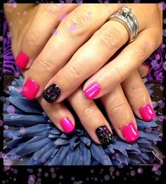 Gel Nails-gel sculpture with Tuity Fruity Shellac and solid black gel with confetti glitter