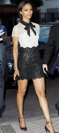 Zoe Saldana best dressed in black and white Valentino lace dress