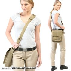 The Narrow Look Bag: Discreet shoulder bag, with CCW compatibility and silent opening main compartment, in a compact size. www.Maxpedition.com