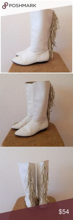 """80s Leather Fringe Flat Rock N Roll Biker Boots Vintage 80s White Leather Suede Fringe Flat Rock N Roll Biker Boots Sz 6   Made in Brazil Please See A Good Amount of Wear/ Scuffing Tag Size Womens 6 B Length: 9.5"""" Width: 3"""" Height of Boot: 12.5"""" Heel: .75"""" Please review actual measurements and compare to a shoe that fits as boots are non refundable Vintage Shoes Combat & Moto Boots"""