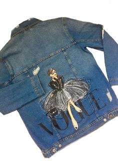 Items similar to denim jacket painted\ hand painted denim jacket\Denim jacket with art\ Gift for her\ Custom Denim Jacket\ Jacket with painting on Etsy Painted Denim Jacket, Painted Jeans, Painted Clothes, Hand Painted, Denim Kunst, Diy Kleidung Upcycling, T Shirt Painting, Painting Art, Estilo Jeans