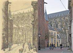 Achter de Dom, Utrecht met zicht op de Dom Anton Pieck, Amsterdam Art, Utrecht, Louvre, Building, Travel, Kunst, Construction, Voyage