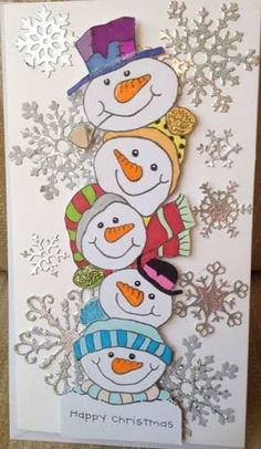 Woodware snowman stamp, like the colouring in on these cute snowman Christmas Rock, Christmas Snowman, Simple Christmas, Christmas Time, Christmas Classroom Door, Office Christmas, Easy Christmas Decorations, Homemade Christmas Cards, Christmas Paintings
