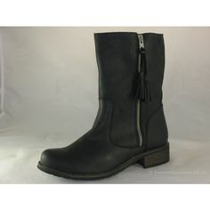 abbece85 Ladies Adesso Eden Black calf length boot. Zip detail on outer edge, Tassle  feature