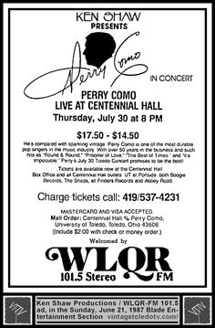 Vintage Toledo TV - Vintage Radio Station Print Ads - WLQR-FM / Ken Shaw presents Perry Como live at Centennial Hall (Sun 6/21/87 ad)