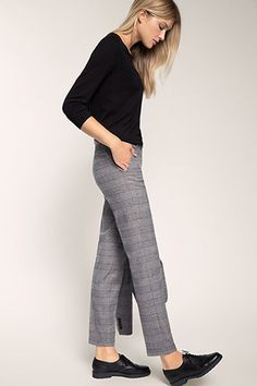 Damen Business Hose im Glencheck Karomuster Zigarettenhose Stretchhose S-M-L-XL