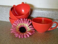 Bright Orangish Red #Melomine Plastic Coffee #TeaCup #vintage $10.00