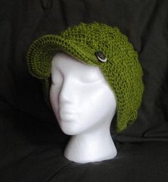Crochet Newsboy tam cap beanie hat in deep Avocado by luvbuzz.etsy.com