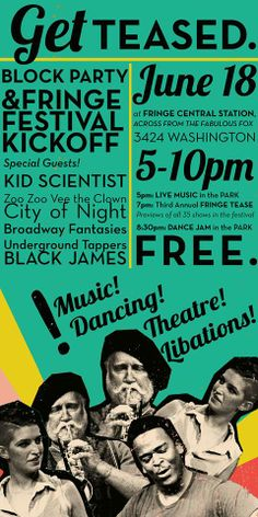 Join us at the Fringe Kickoff Party next Wednesday, June 18th from 5pm to 10pm. https://www.facebook.com/events/306954739461404/