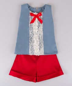 Love this Blue Lace Top & Red Shorts - Toddler & Girls by Mia Belle Baby on #zulily! #zulilyfinds
