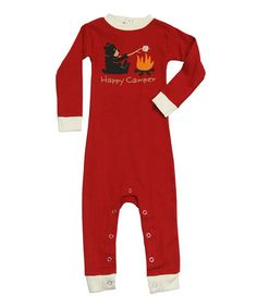 Take a look at this Red 'Happy Camper' Flapjack Playsuit - Infant by Lazy One on #zulily today!