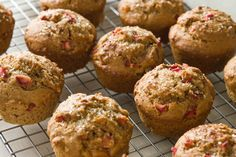 Rhubarb-Applesauce Muffins - Substitute in some oats for flour and decrease sugar