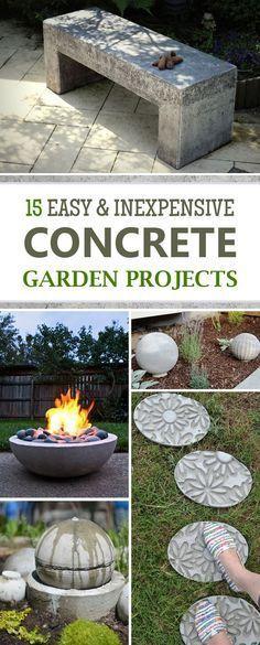 15 Easy and Inexpensive DIY Concrete Garden Projects - DIY Garden Decor Diy Garden Furniture, Concrete Furniture, Diy Garden Projects, Garden Crafts, Diy Garden Decor, Outdoor Projects, Garden Art, Furniture Ideas, Outdoor Furniture