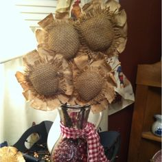 primitive sunflowers | Primitive sunflower arrangement I made | Prim to the Brim
