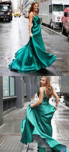 A-Line V-Neck Sweep Train Green Satin Prom Dress